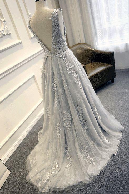 Gray Tulle Layered Horsehair Hem Wedding Dress Lace Weddings
