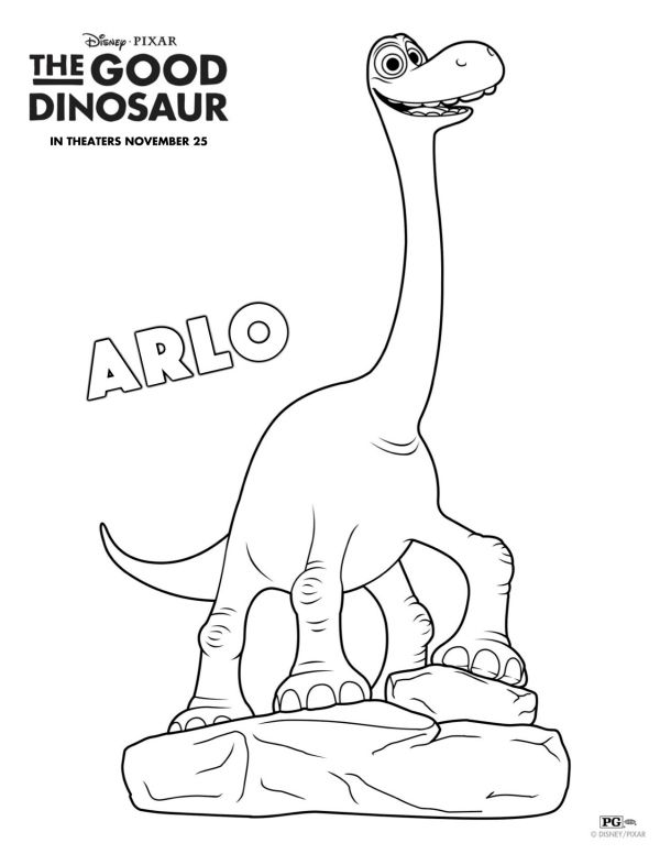 Free Disney The Good Dinosaur Arlo Coloring Page