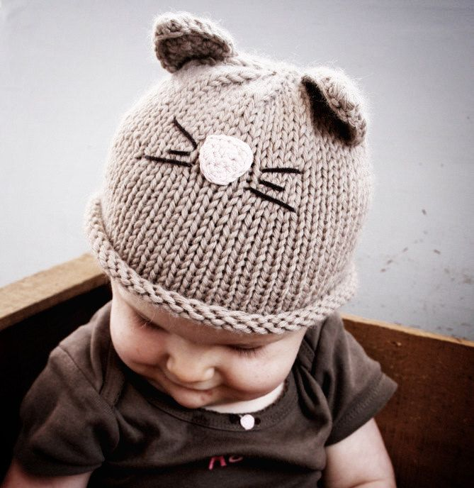 Newborn Light Brown Color Cat or Kitten Hat Available size up to 3 Months. $20.00, via Etsy.