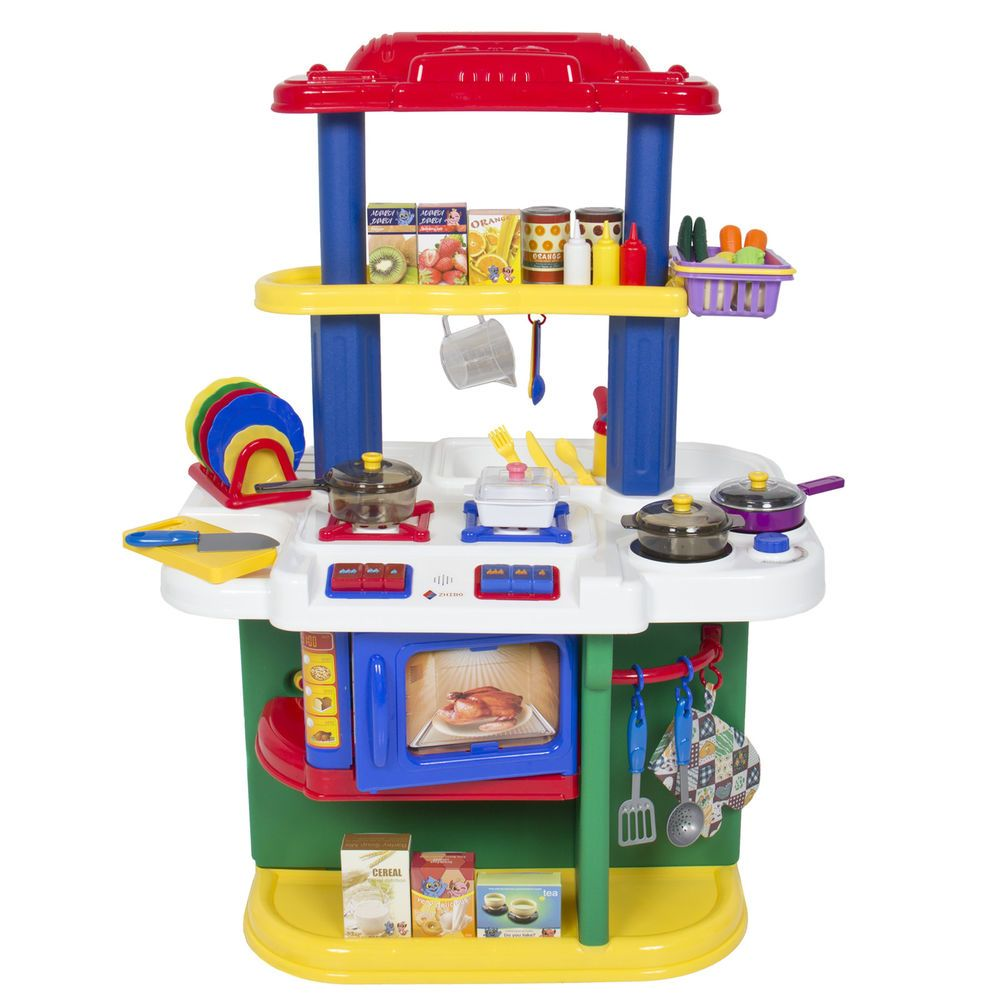 Deluxe children kitchen cooking pretend play set man i for Fake kitchen set