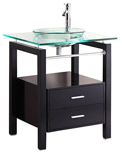 Modern Bathroom Tempered Clear Gl Vessel Sink Vanity Cabinet W Faucet