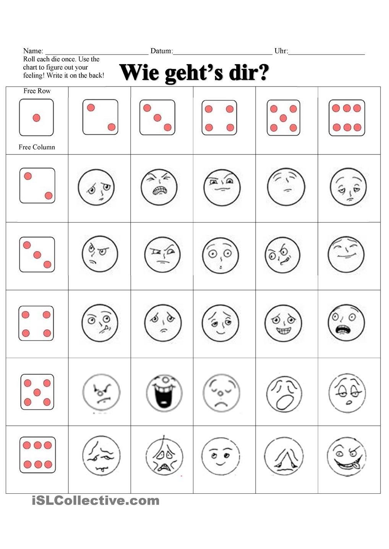 Arbeitsblätter - Wie Gehts dir? Gefühle und Gesichtsausdrucke ...