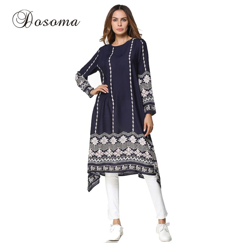 945a37a4d8 Muslim Women Print Abaya Kimono Casual Pattern Maxi Gown Dress Arab ...