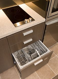 stove top sink and dishwasher on one wall woth fridge and