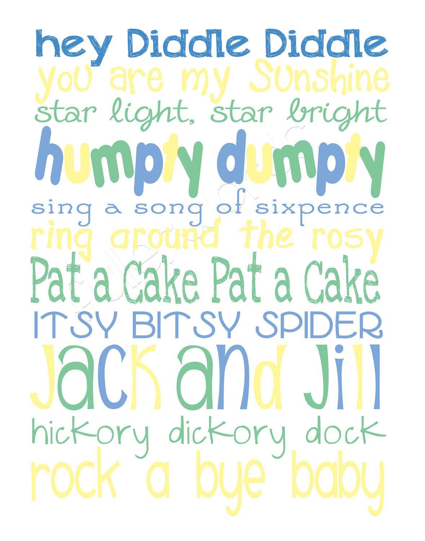Nursery Rhymes Word Art