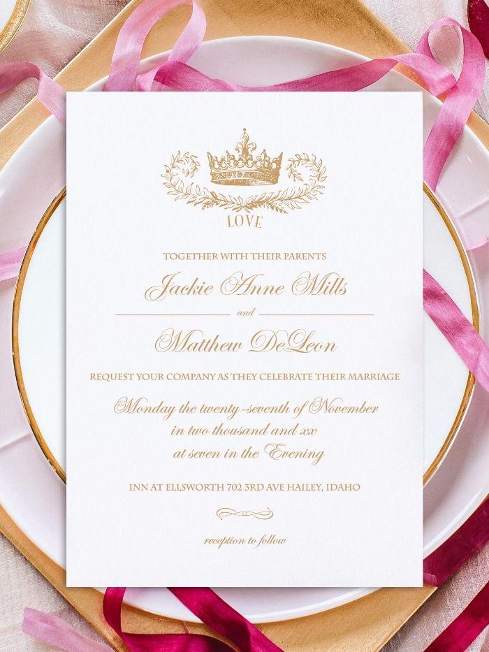 Print Royal Crown Free Printable Wedding Invitation Suite
