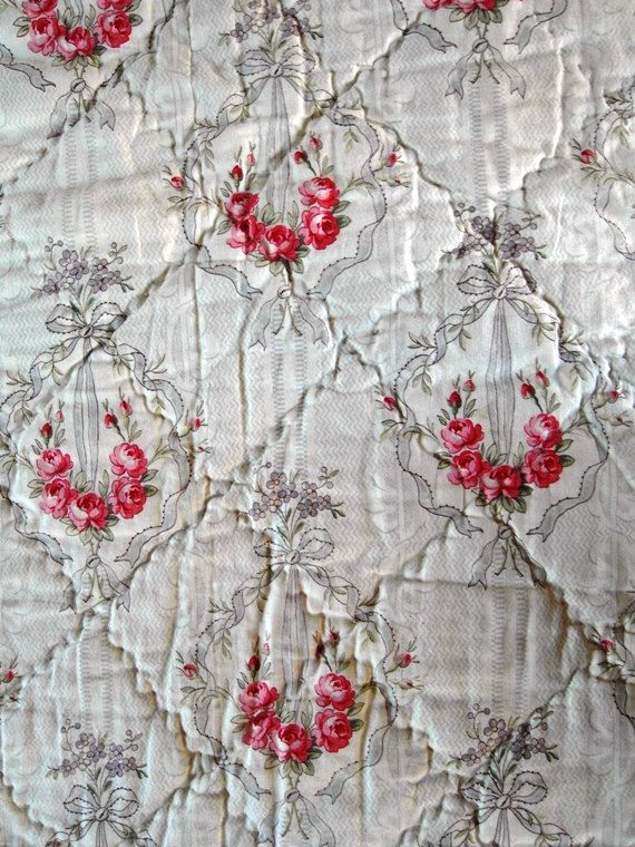 FRENCH Antique QUILT boutis ROSES garlands  by villavillacolle, $500.00
