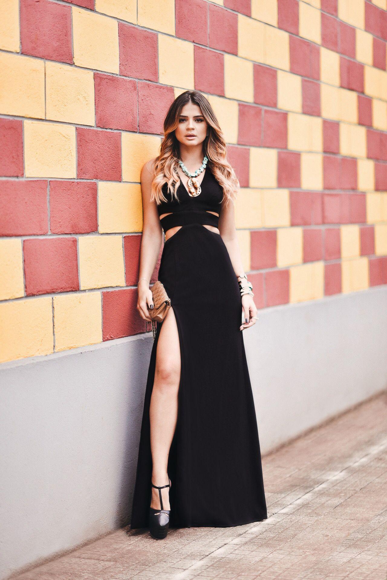 Look Do Dia Vestido Longo Preto Vestidos Vestido Preto