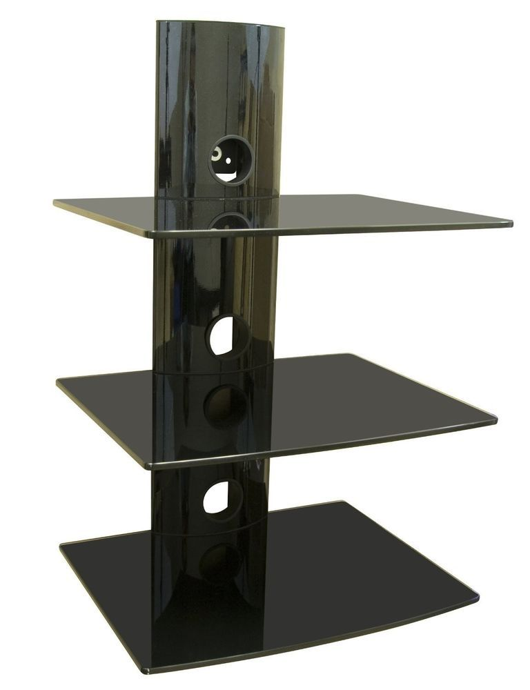 Tv Wall Mount Shelving Bracket 3 Shelf Component Shelves Cable