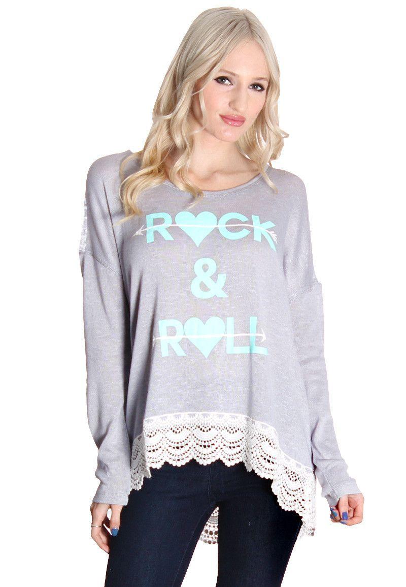 Gray Rock Crochet Hem Blouse