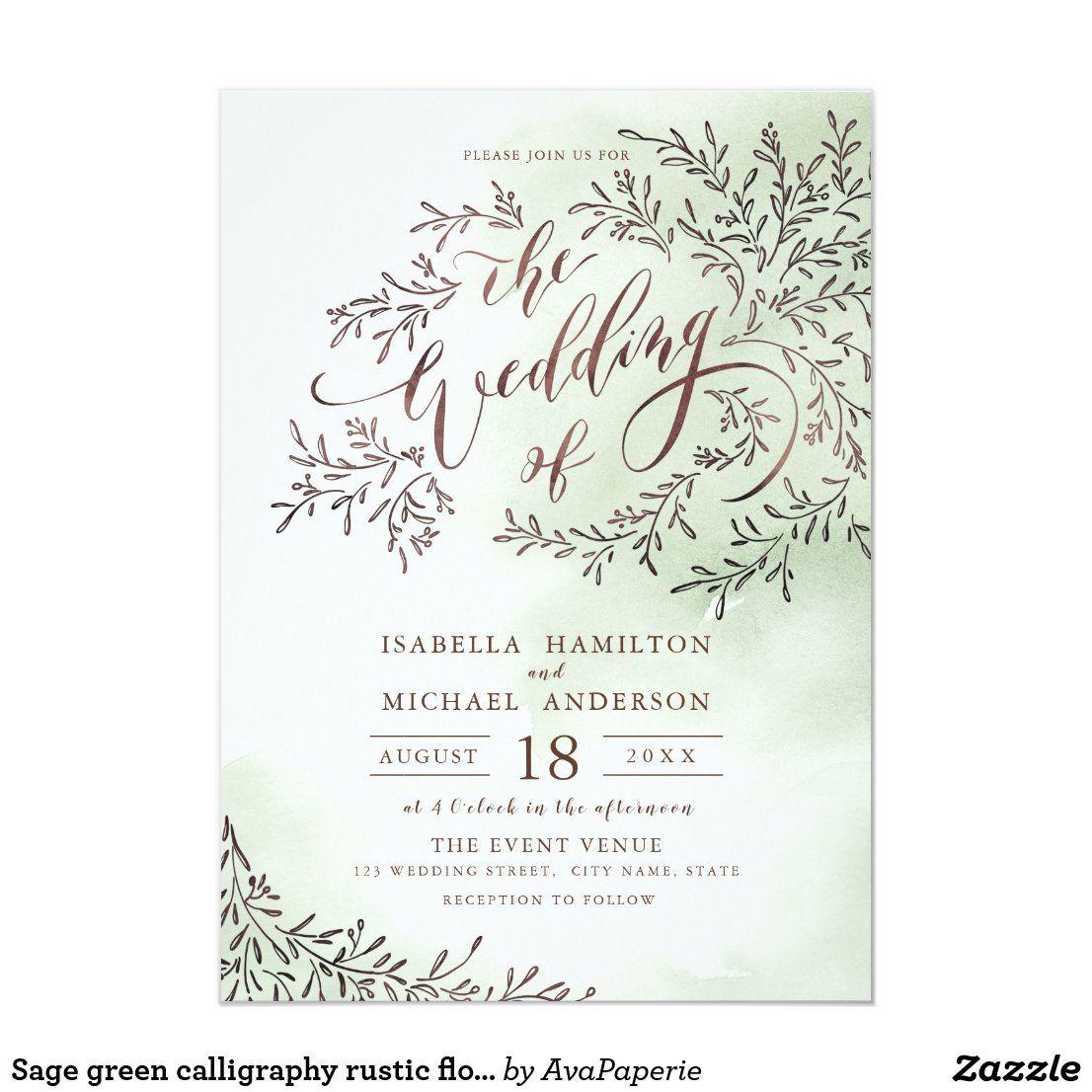 Sage green calligraphy rustic floral wedding invitation