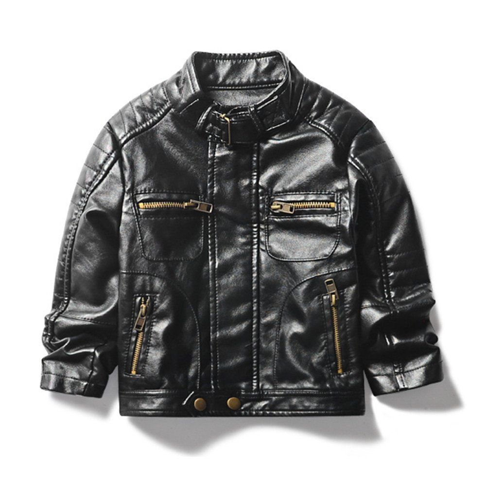 fc8bfd861941 LJYH Boys Stand Collar Motorcycle PU Leather Jacket Children s ...