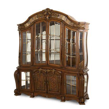 Glass Doors Shelves Hardwood Sienna Spice Finish China Cabinet Buffet