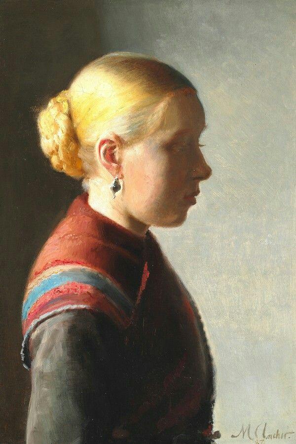 Michael Ancher: Michael Ancher 1887 Ung pige Skagen Museum. Pigen på maleriet var Maren Brems og hun v...