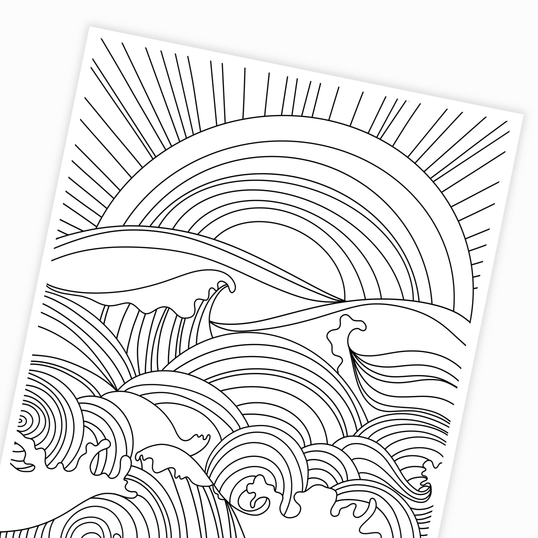 Sunset & Ocean Waves Coloring Page Digital Printable ...
