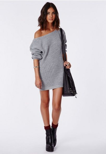 7962a2de2297 Ayvan Off Shoulder Knitted Jumper Dress Grey - Dresses - Missguided ...