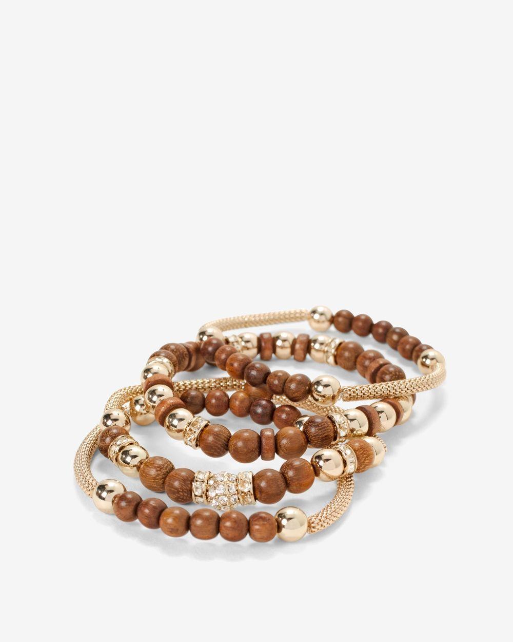 Wooden Mesh Stretch Bracelet Set