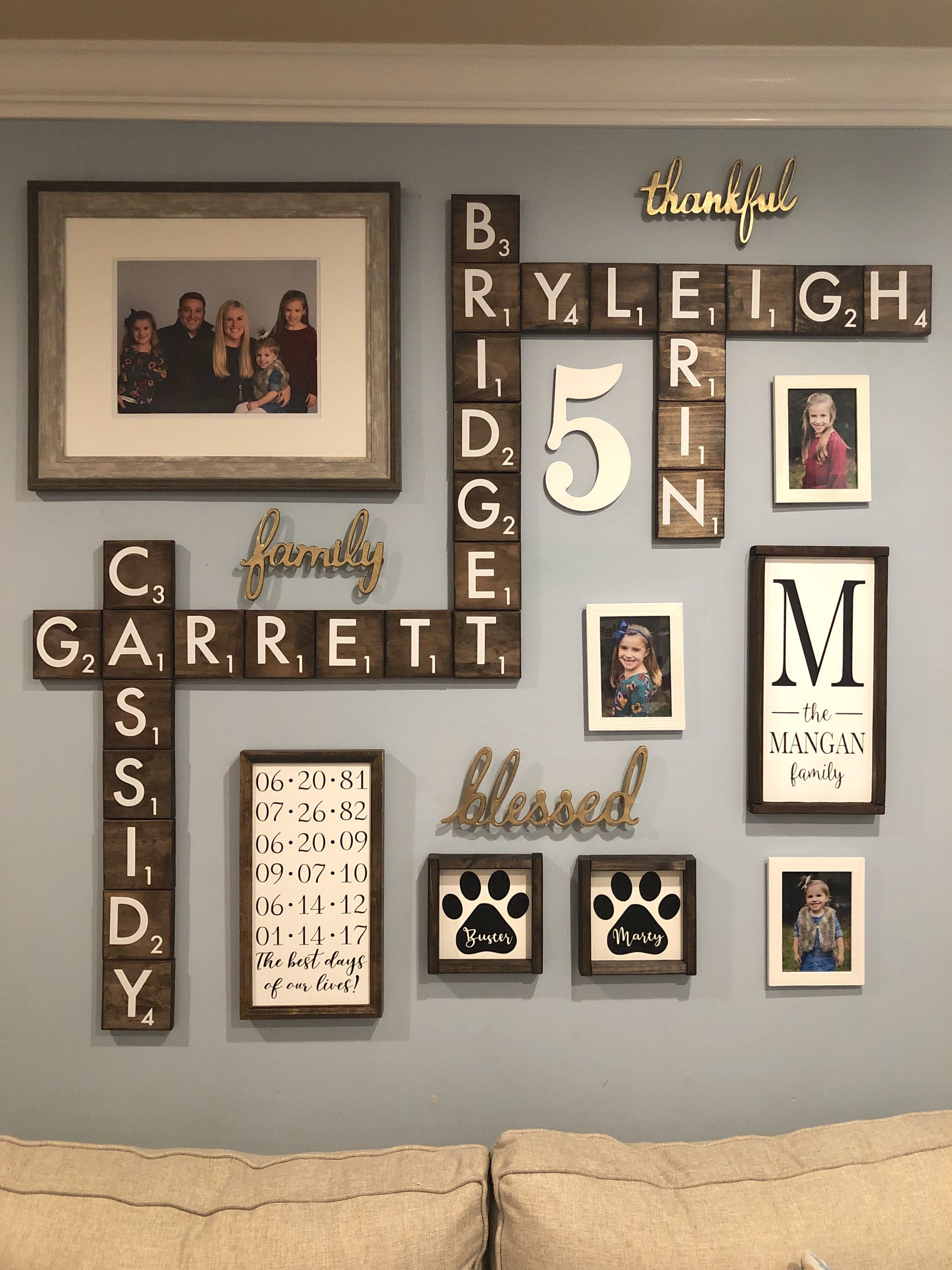 Scrabble Tile Gallery Wall Family Wall Decor Family Pictures On Wall Family Wall Art