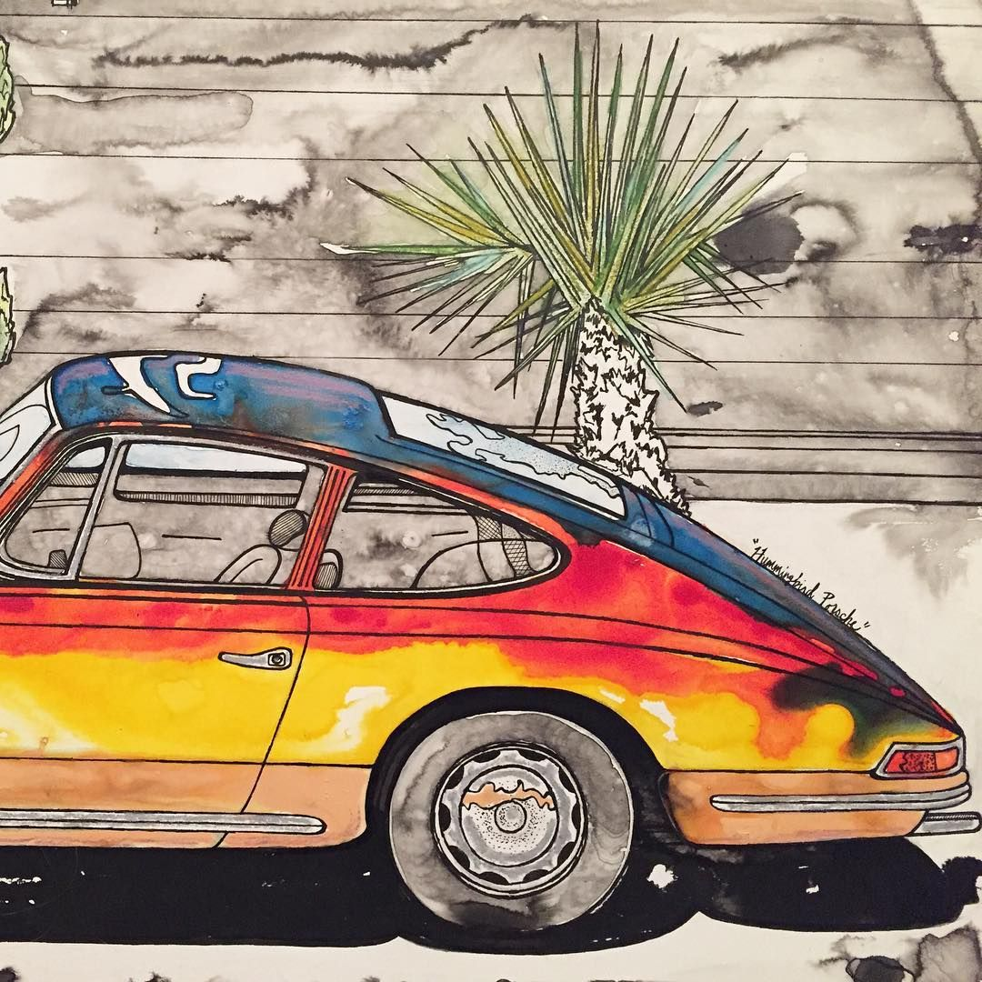 Detail of the completed rainbow hummingbird porsche