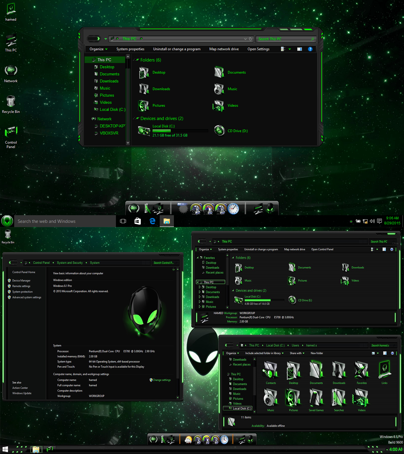 Alien Green SkinPack For Windows 10 RTM