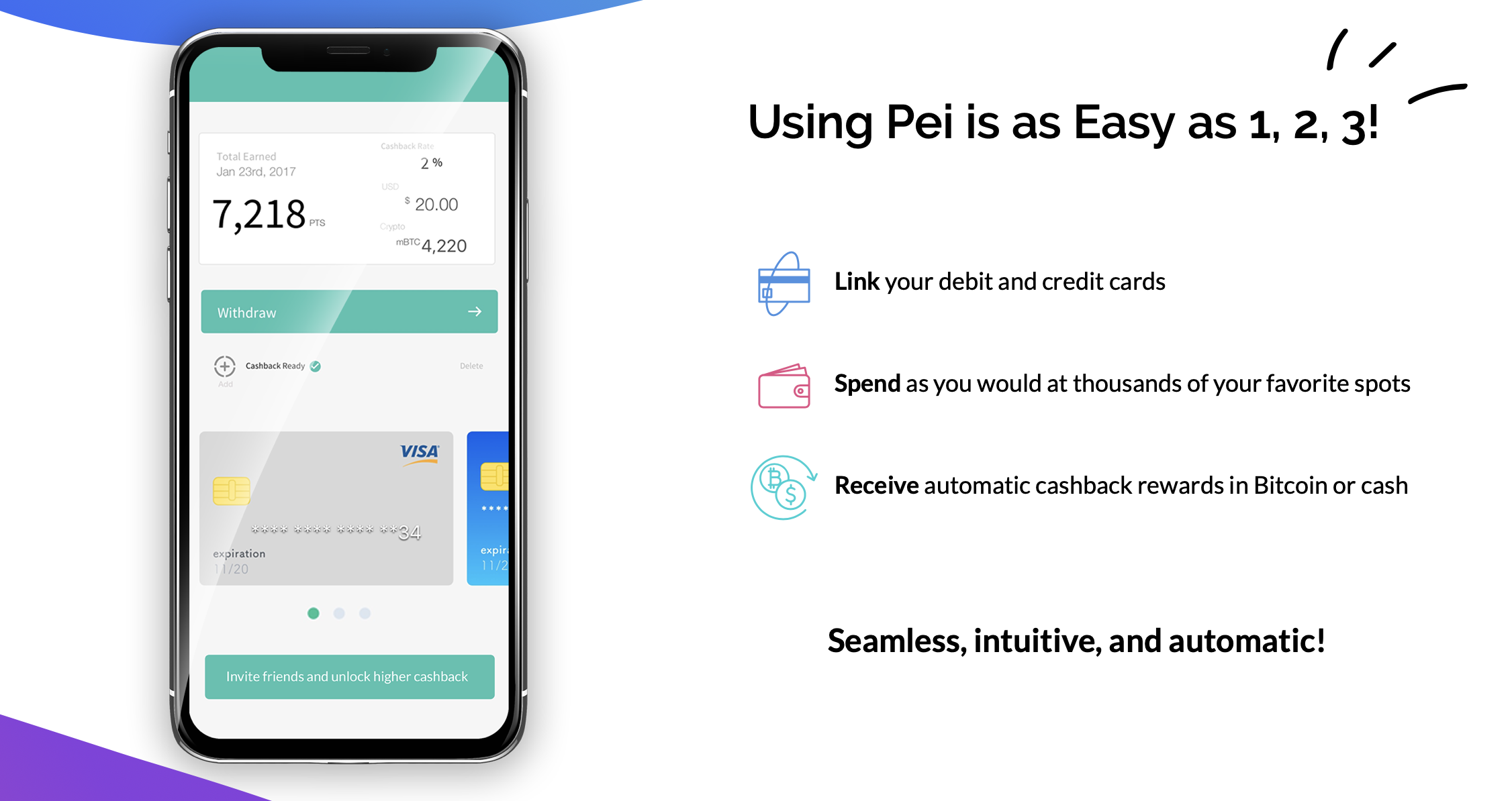 Check out Pei to start earning automatic cashback in