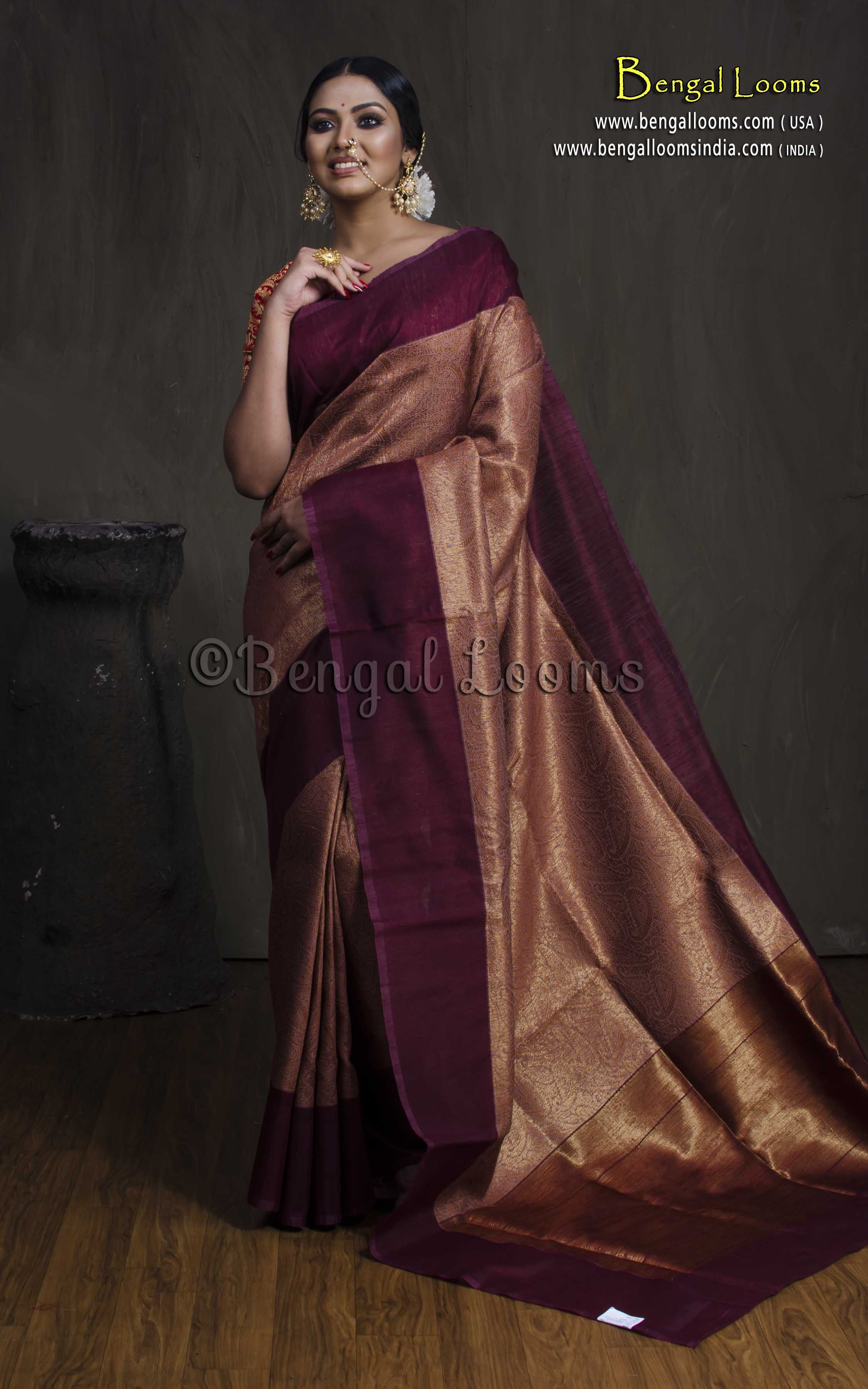 53e2aeae76d36 Brocade Tussar Banarasi Saree in Copper and Maroon