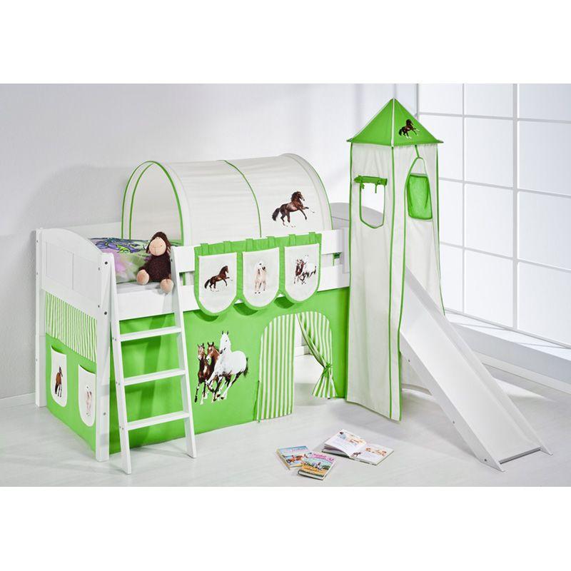 e-combuy Angebote Hochbett Spielbett IDA Pferde Grün Beige, mit Turm, Rutsche und Vorhang, weiß: Category: Hochbetten Item…%#Quickberater%