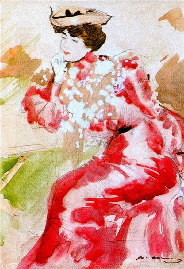 Lady in Red by Ramon Casas