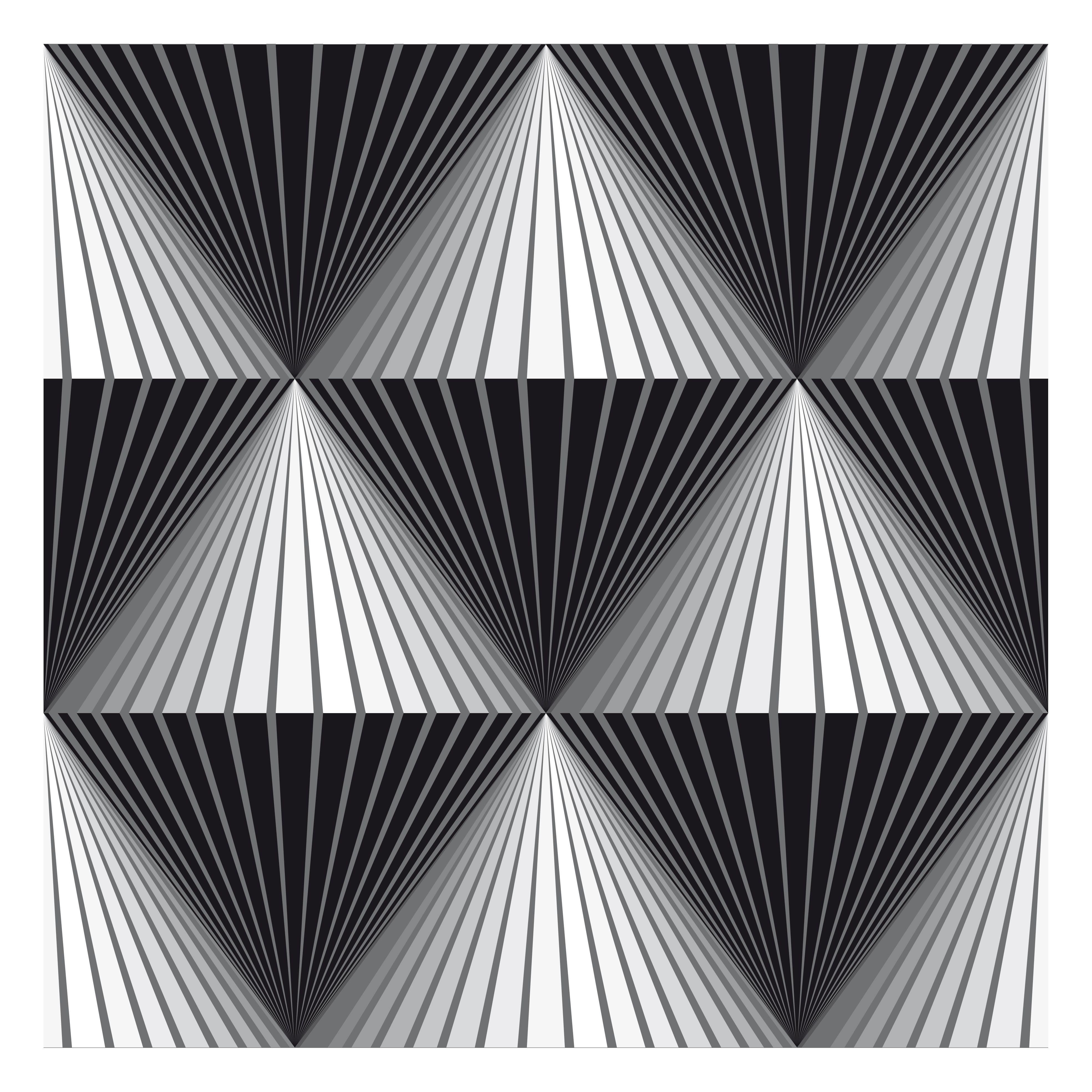 Black white and grey diamonds illustrations pinterest for Geometric illusion art