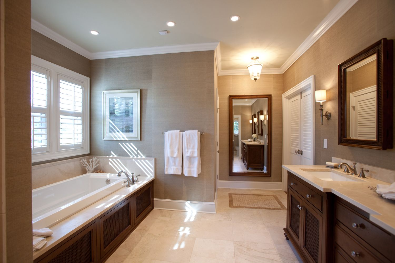 Merveilleux British Colonial Style Bathroom. Master Bathroom. Grasscloth. By Loftus  Design I Like The Dark Wood Around The Tub, Flooring, And Light Counter  Tops With ...