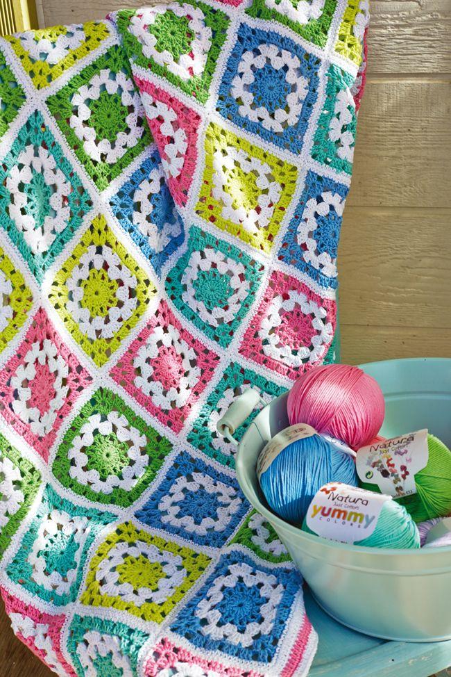 Patrón de regalo: manta granny square | Crochet | Pinterest | Manta ...