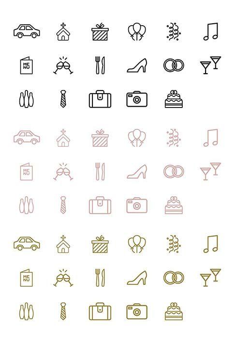 Timeline Hochzeit Icons, Symbole und Vorlage zum Download