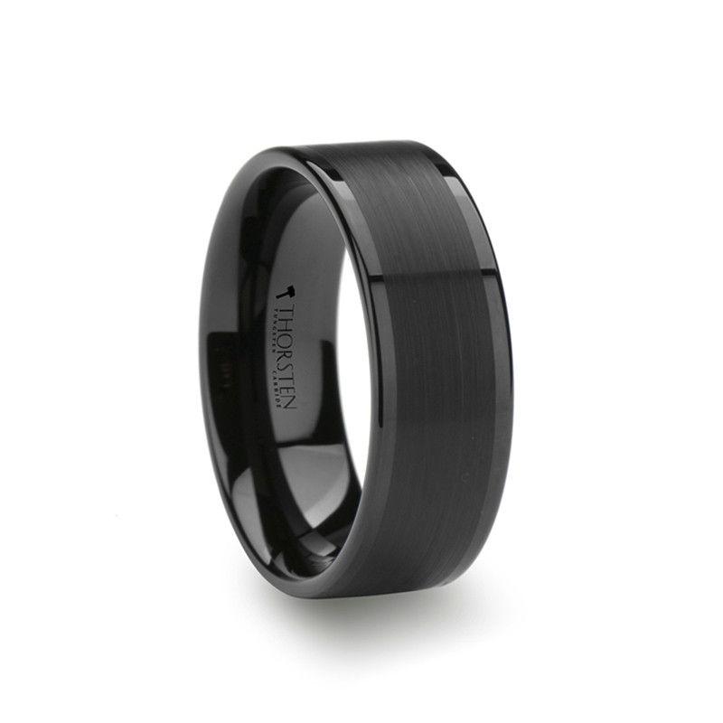 Pluto Flat Black Tungsten Wedding Band With Brushed Center Wedding Bands Hq Black Tungsten Rings Black Tungsten Wedding Ring Mens Wedding Rings