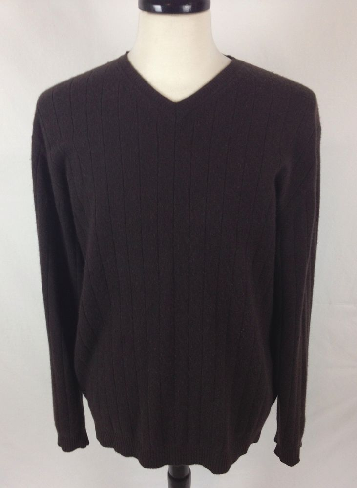 Apt 9 Cashmere Sweater Mens Brown V Neck Long Sleeve L | Cashmere ...