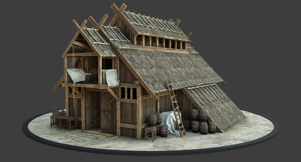3d Medieval Viking House Model Turbosquid 1431125 Viking House Viking Hall Scandinavian Architecture