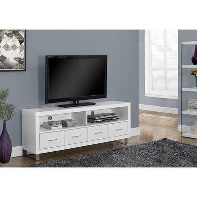White TV Stand 60 Inch Entertainment Center Storage Modern Media Cabinets Drawer