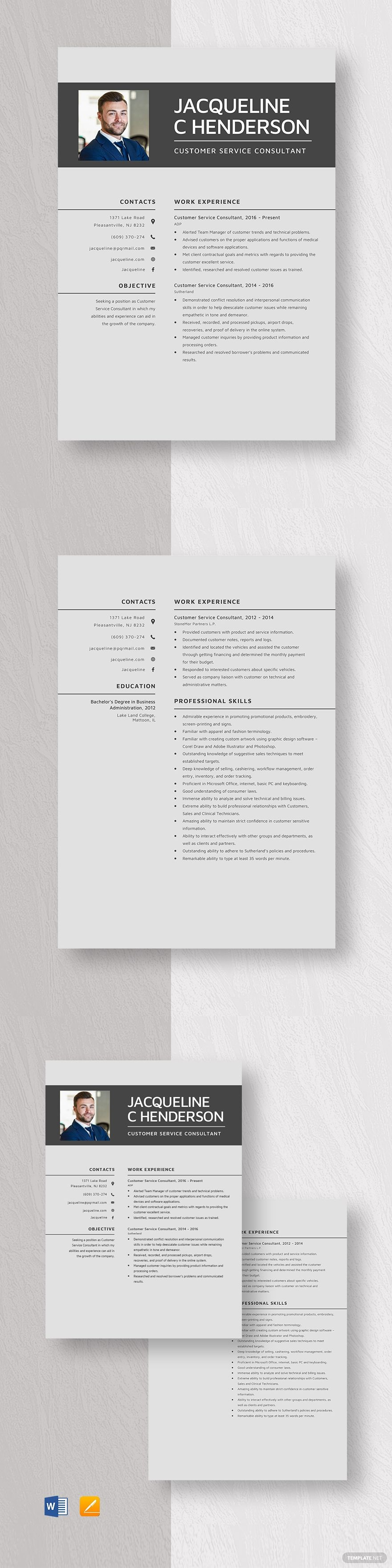 Customer service consultant resume template ad paid