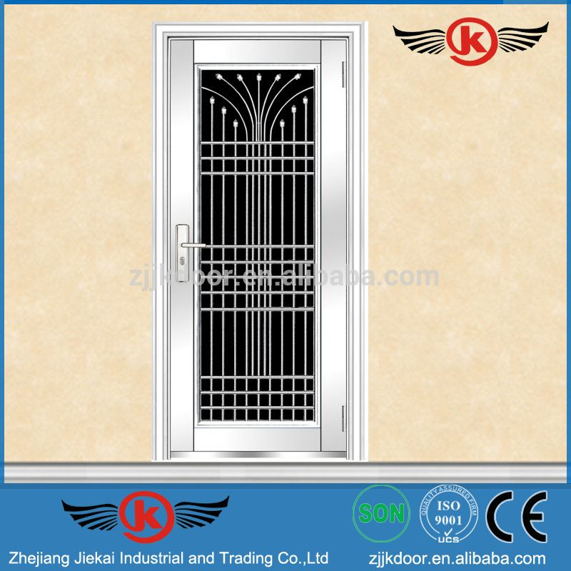Jk Ss9084 Apartment Stainless Steel Safety Door Design With Grill