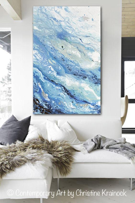Giclee Print Art Abstract Painting Blue White Coastal Marbled Seascape Large Canvas Prints Wall Art Blue Abstract Painting Large Canvas Prints Abstract Painting