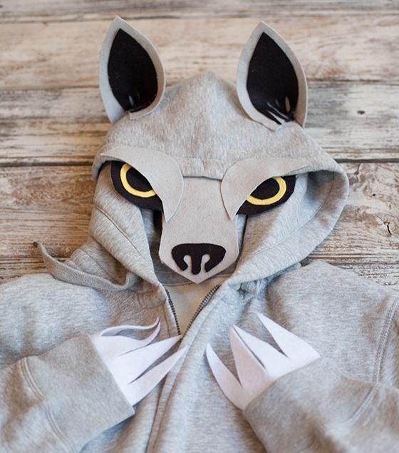 kinder faschingskostüme tiere selber machen wolf kapuzenpullover ...