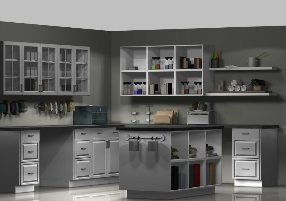 A Craft Room With Ikea Kitchen Cabinets Ikdo In 2020 White Craft Room Ikea Craft Room Ikea Crafts