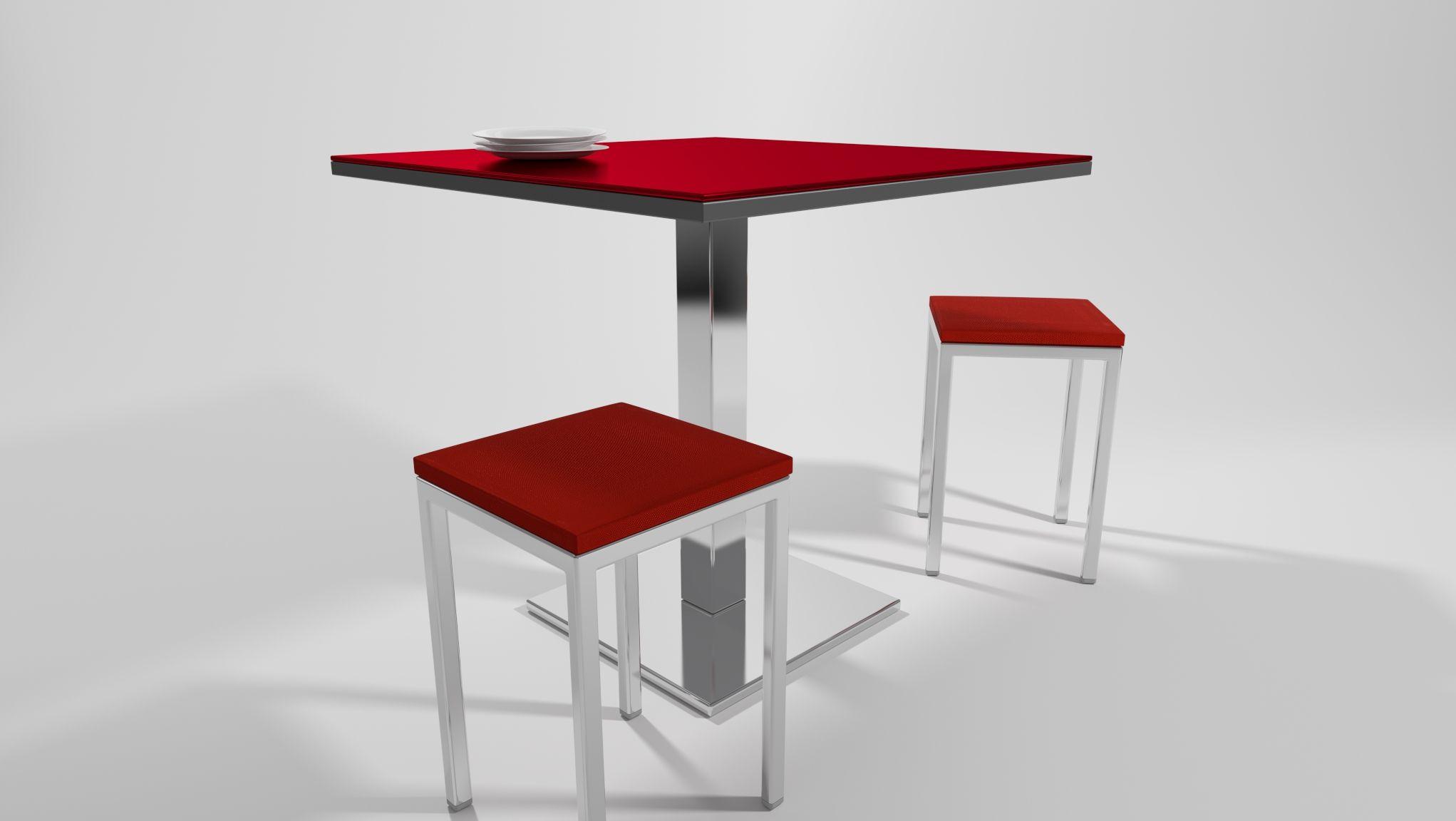 mesa de cocina cuadrada junto a pequeño taburete, todo en color rojo ...