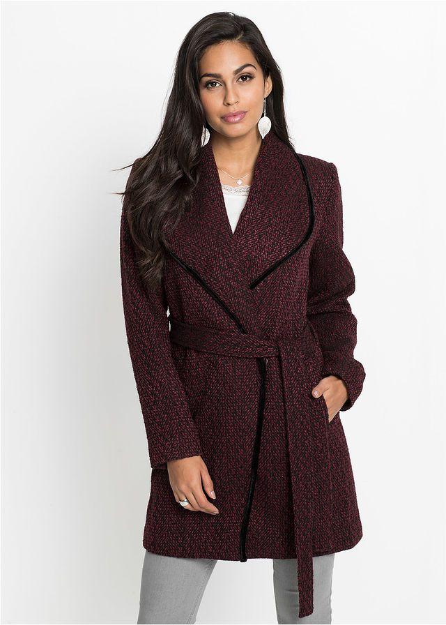Átkötős kabát • rubinvörös-fekete mintás • bonprix áruház  09c50fe5c0