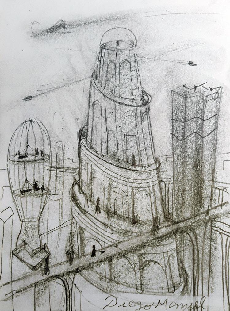 Ciudades Del Futuro 2020 3 20 X 15 Cm Lapiz Sobre Papel 2020 Ciudad Futurista Ciudades Dibujos De Ciudades