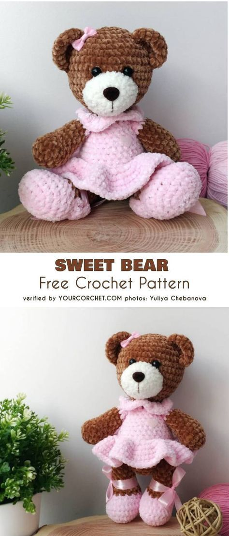 Crochet Sweet Bear in Dress Free Plush Pattern #crochetbearpatterns