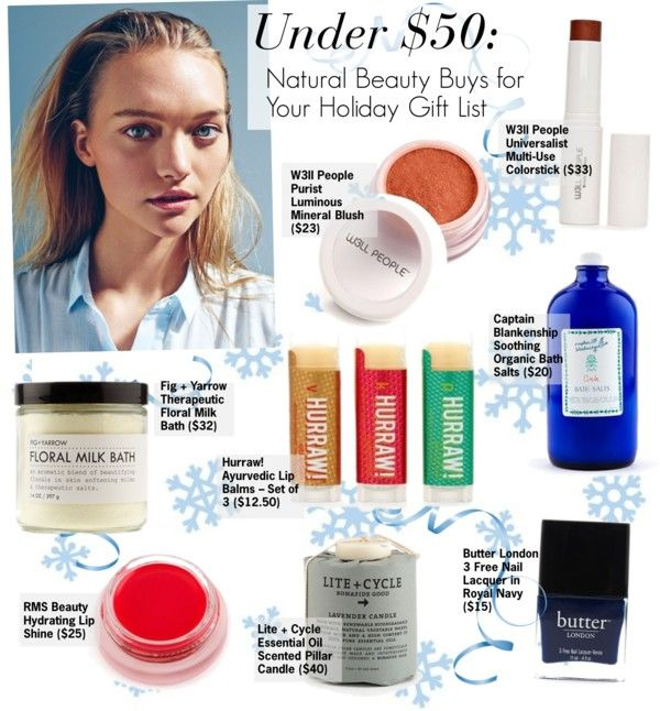 """""""Natural Beauty Buys for Your Holiday Gift List UNDER 50$"""" by kusja ❤ liked on Polyvore"""