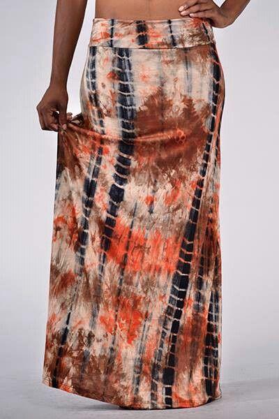 Orange Chiffon Its Fashion Metro Blouses Dark Brown: Long Maxi Skirts, Maxi Skirts