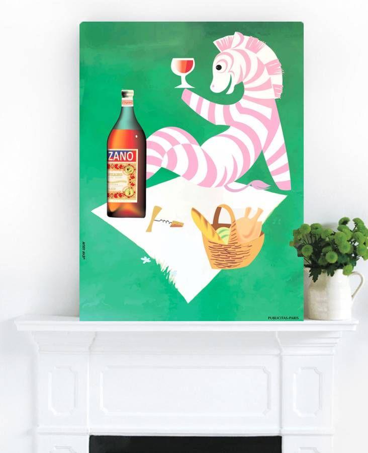 Cinzano Zebra, Vintage Canvas Art