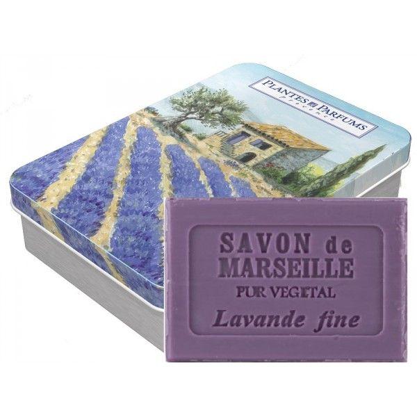 """Boîte métal modèle """"Lavande"""" avec savon de Marseille Lavande"""