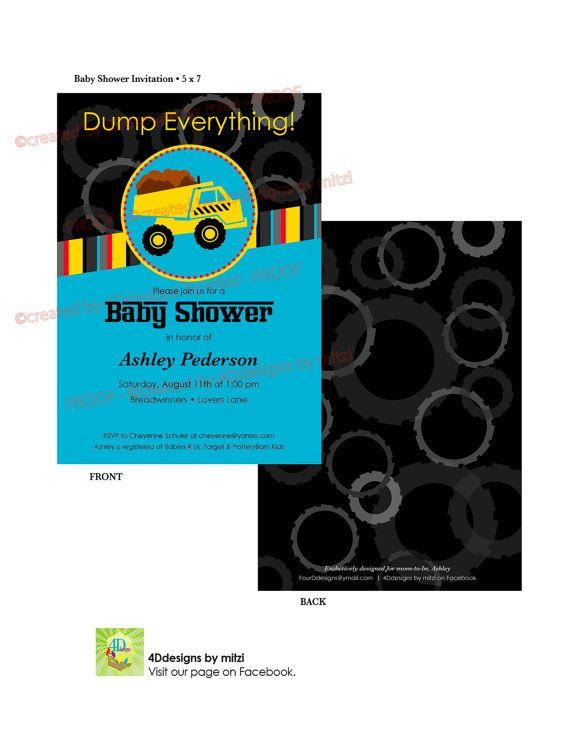 Tonka Truck Party Baby Shower Invitation Invitaciones